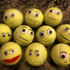 Occupational Therapy: Hand strengthening activity! Have kids feed the tennis ball using beads or crumpled up tissue paper.