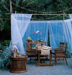 So easy! dining rooms, outdoor rooms, summer patio, outdoor parties, fabric decor, backyard, outdoor spaces, outdoor curtains, garden
