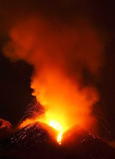 Mt Etna erupting