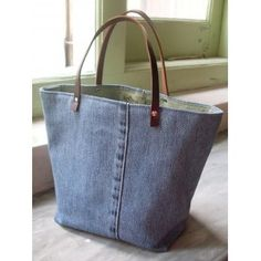 Upcycled denim tote.