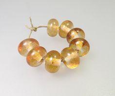 Ginger Ale  Handmade Lampwork Glass Beads SRA 8 by MysticCaravan2, $18.00