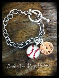 Baseball Mom Custom Hand Stamped Charm Bracelet by mygoodie2shoes, $25.00 baseball mom, beat, hand stamped, mom custom, charm bracelets, stamp charm, basebal mom, basebal custom, custom hand