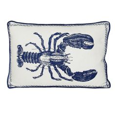 Indigo Blue and White Lobster Pillow from Kevin O'Brien Studio