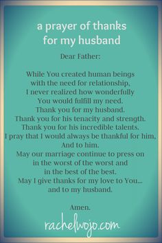 a prayer of thanks for my husband...