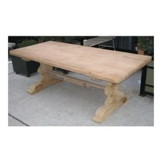 trestle table made from reclaimed oak