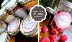 Free Printable Mason Jar Labels including blank ones, can be used to label baked goods / Christmas gifts.