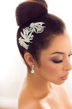 Bridal Rhinestone Leaf Hairpin by One World Designs Bridal Jewelry
