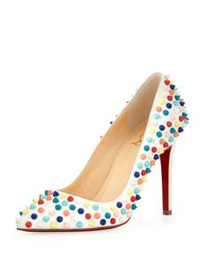 Pigalle Spikes Red Sole Pump, White Multi by Christian Louboutin at Bergdorf Goodman.