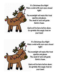 Reindeer food crafts reindeer food label and poem more