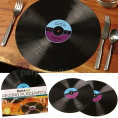 dining rooms, record placemat, old records, dining room tables, record collection