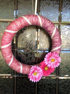 spring yarn, yarn stuff, spring wreaths, yarn wreaths