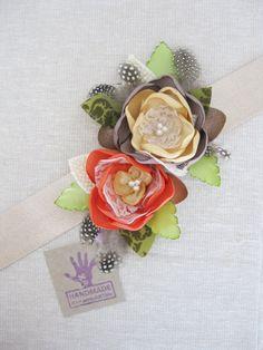 Orange Yellow Flower Sash Belt. Fall Autumn Collection. Flower Dress Sash Belt. Flower Accessory. Gold Dess Sash. Ribbon Sash.
