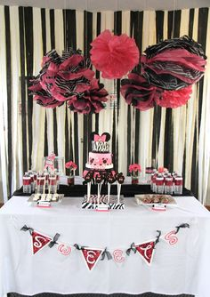 Minnie Mouse zebra print dessert table. #minnie #mouse #birthday #party #dessert #table
