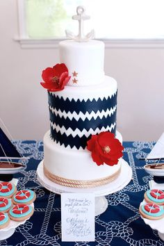 Modern cake for a nautical baby shower