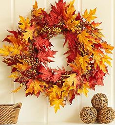 """Faux Fall Leaf and Berry #Wreath – 24"""" #autumn"""