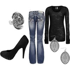 Casual black & silver. All from buckle.com :)