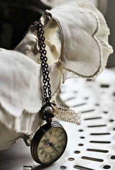 Vintage Pocket Watch & Antique Linen
