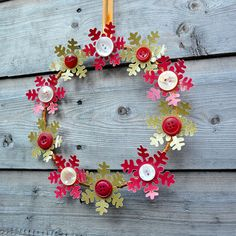 Button snowflake wreath