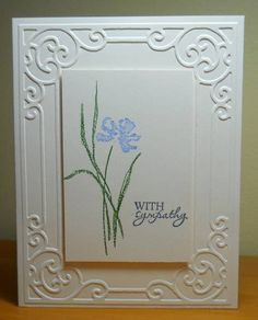 White on White Sympathy by susanbri - Cards and Paper Crafts at Splitcoaststampers. Cuttlebug Embossing Folder