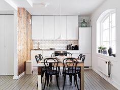 raw wood interior design kitchen | ... kitchen, white, subway tiles, bistro chairs, raw wood wall