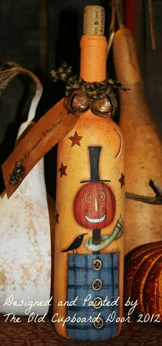 hand painted wine bottle  http://www.theoldcupboarddoorblog.com/2012/10/thyme-for-give-away.html