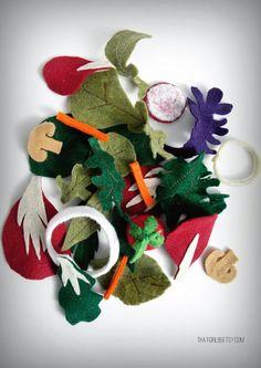 Play Felt Food Salad Mixed Greens by thatgirl99 on Etsy, $10.00