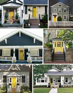 yellow doors galore. #yellow #door #curbappeal