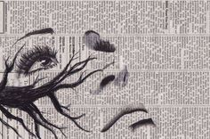 drawing/painting on old newspaper/books