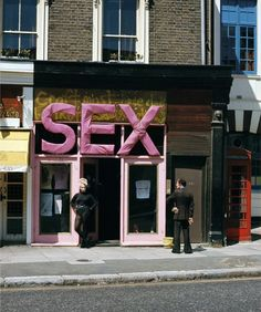Jordan outside Sex Boutique, photo Sheila Rock, 1974
