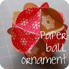 This ornament uses 20 circles of paper, folded, then glued together to make a icosahedron.