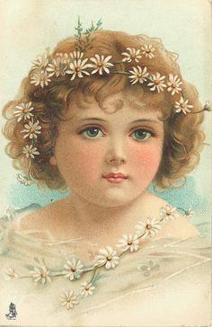 daisies, chain, girl
