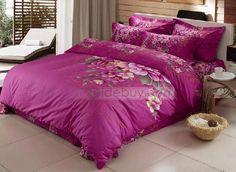 Jacquard de lujo de satén rosa púrpura de 4 piezas Juegos de cama Manta (Envío Gratuito)