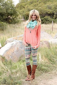 Aztec print leggings with a coral top and aqua scarf. Women's street style fashion