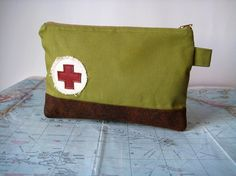 First aid zipper pouch by atlaspast on Etsy, $24.00