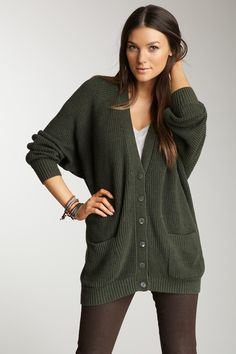 oversized boyfriend cardi. I would have to borrow someone else's boyfriend's cardi or else I'd have a sweater dress ;)