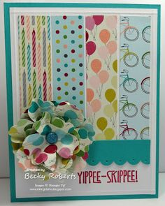 birthday card, ink idaho, summer cards, fabric flowers, yippe skippe, birthdays, stampin, paper flowers, yippeeskippe