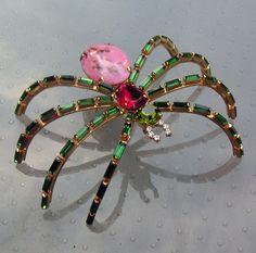 Large Germany Gold Tone and Multi Rhinestone by bunnystrunkshow,