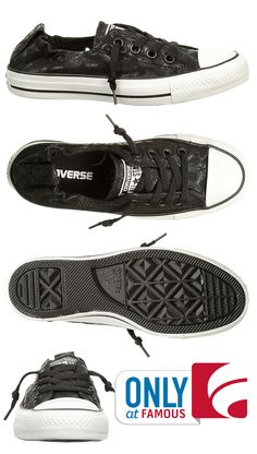 Classic Shoreline Chucks feature a cool black feather design only available at Famous! We also love the slip-on style.