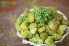 Roasted Potato Salad with Cilantro Pesto www.fooddonelight.com #potatosalad #roastedpotatosalad #nomayopotatosalad #cilantrochutney #cilantropesto #healthypotatosalad