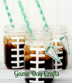 Your Super Bowl party needs some fun crafty creations. #gameday #crafts #diy