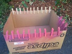 MYO decorated clothespins - pin to cardboard box, spray. dry. decorate....