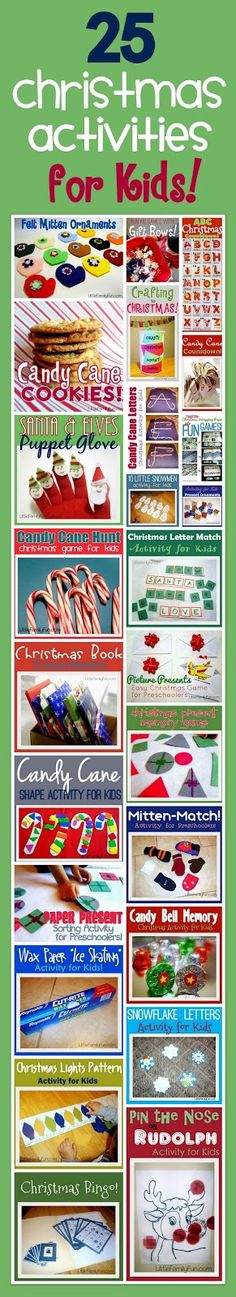 Fun and Easy Christmas activities for kids!… Lots of items for consideration that can be adapted to suit the classroom.