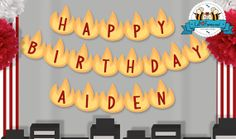 Editable Firefighter Birthday Party  Happy by LilFacesPrintables, $6.95
