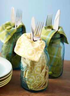 casual dining utensils, napkin, and mason jar for your beverage....