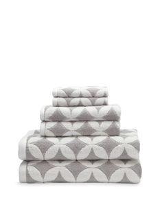 Grey + White Patterned Towels (Luxor Linens via Gilt) #Bath
