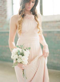 Pale pink Amsale #bridesmaid dress Photography: Chris Isham - chrisishamphotography.com/blog  Read More: http://www.stylemepretty.com/2014/06/06/bridal-warehouse-shoot-wiup/