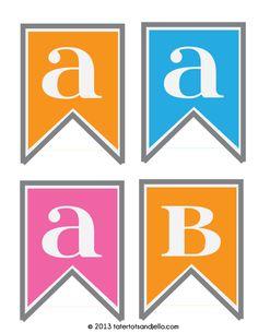 Free alphabet party pennants in three different colors at tatertotsandjello.com