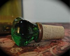 Antique Green Door Knob Wine Stopper.