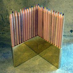 Image of colored pencils + brass holder set
