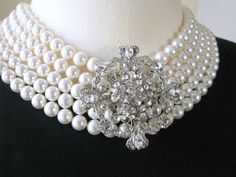 Audrey Hepburn - Breakfast at Tiffany's - Pearl and Rhinestone Statement Necklace.